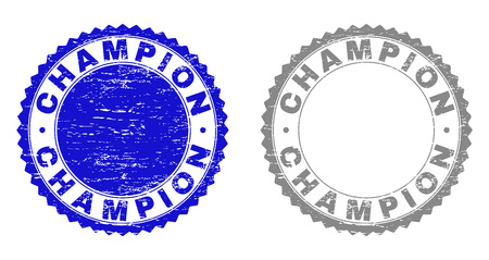 Grunge CHAMPION stamp seals isolated on a white background. Rosette seals with grunge texture in blue and grey colors. Vector rubber imitation of CHAMPION title inside round rosette.