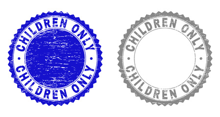 Grunge CHILDREN ONLY stamp seals isolated on a white background. Rosette seals with grunge texture in blue and grey colors. Vector rubber imprint of CHILDREN ONLY title inside round rosette. Stock Illustratie