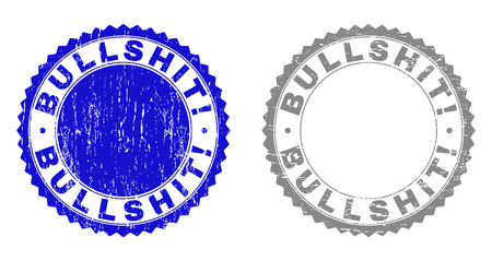 Grunge BULLSHIT! stamp seals isolated on a white background. Rosette seals with distress texture in blue and gray colors. Vector rubber imprint of BULLSHIT! caption inside round rosette.
