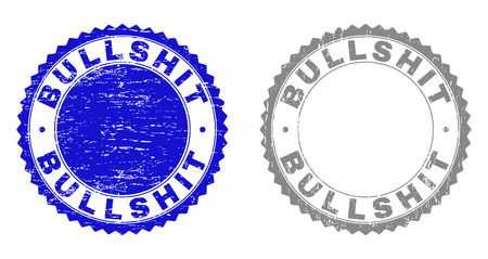 Grunge BULLSHIT stamp seals isolated on a white background. Rosette seals with distress texture in blue and gray colors. Vector rubber watermark of BULLSHIT title inside round rosette.