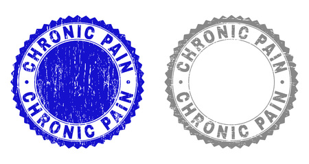 Grunge CHRONIC PAIN stamp seals isolated on a white background. Rosette seals with grunge texture in blue and grey colors. Vector rubber watermark of CHRONIC PAIN tag inside round rosette.