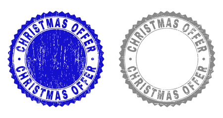 Grunge CHRISTMAS OFFER stamp seals isolated on a white background. Rosette seals with distress texture in blue and grey colors.