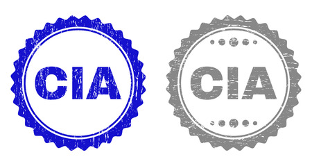 Grunge CIA stamp seals isolated on a white background. Rosette seals with grunge texture in blue and gray colors. Vector rubber stamp imitation of CIA title inside round rosette.