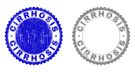 Grunge CIRRHOSIS watermarks isolated on a white background. Rosette seals with grunge texture in blue and grey colors. Vector rubber stamp imprint of CIRRHOSIS label inside round rosette.