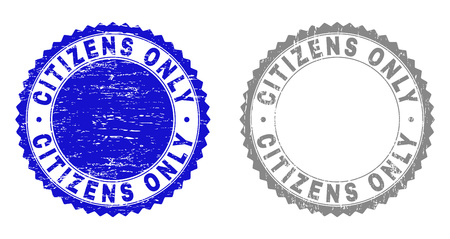 Grunge CITIZENS ONLY stamp seals isolated on a white background. Rosette seals with grunge texture in blue and grey colors. Vector rubber stamp imprint of CITIZENS ONLY text inside round rosette.