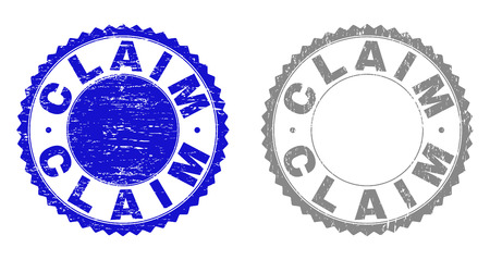 Grunge CLAIM stamp seals isolated on a white background. Rosette seals with grunge texture in blue and grey colors. Vector rubber stamp imitation of CLAIM tag inside round rosette. Çizim