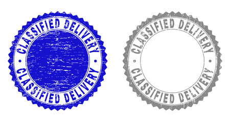 Grunge CLASSIFIED DELIVERY stamp seals isolated on a white background. Rosette seals with grunge texture in blue and gray colors.