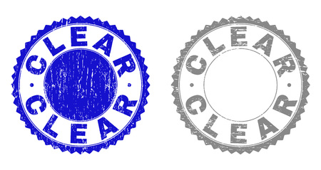 Grunge CLEAR stamp seals isolated on a white background. Rosette seals with grunge texture in blue and gray colors. Vector rubber stamp imprint of CLEAR label inside round rosette.