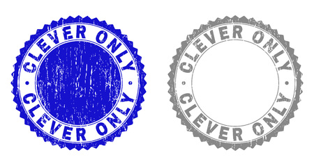 Grunge CLEVER ONLY stamp seals isolated on a white background. Rosette seals with grunge texture in blue and gray colors. Vector rubber stamp imitation of CLEVER ONLY tag inside round rosette.
