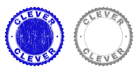 Grunge CLEVER stamp seals isolated on a white background. Rosette seals with grunge texture in blue and gray colors. Vector rubber stamp imitation of CLEVER text inside round rosette. Illustration