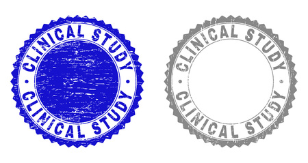 Grunge CLINICAL STUDY stamp seals isolated on a white background. Rosette seals with grunge texture in blue and grey colors. Vector rubber stamp imitation of CLINICAL STUDY label inside round rosette.
