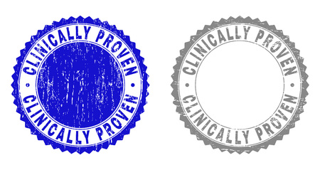 Grunge CLINICALLY PROVEN stamp seals isolated on a white background. Rosette seals with grunge texture in blue and grey colors.