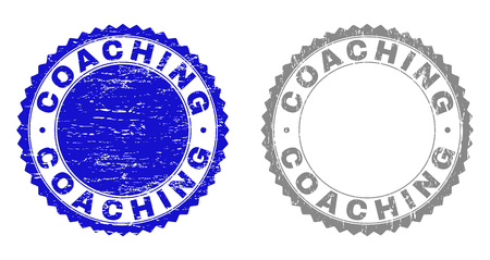 Grunge COACHING stamp seals isolated on a white background. Rosette seals with distress texture in blue and grey colors. Vector rubber stamp imitation of COACHING tag inside round rosette.