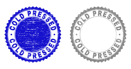 Grunge COLD PRESSED stamp seals isolated on a white background. Rosette seals with grunge texture in blue and grey colors. Vector rubber stamp imprint of COLD PRESSED title inside round rosette. Ilustrace