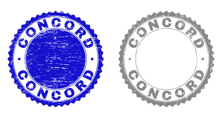 Grunge CONCORD stamp seals isolated on a white background. Rosette seals with grunge texture in blue and gray colors. Vector rubber stamp imprint of CONCORD tag inside round rosette.