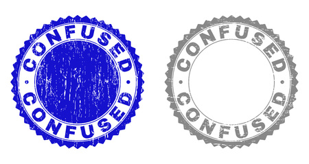 Grunge CONFUSED stamp seals isolated on a white background. Rosette seals with grunge texture in blue and grey colors. Vector rubber stamp imprint of CONFUSED caption inside round rosette.