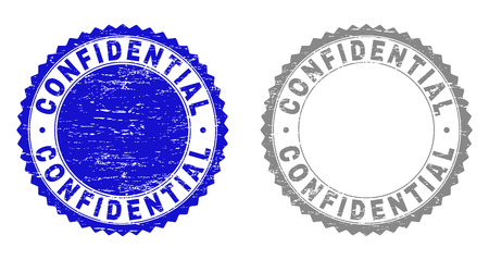 Grunge CONFIDENTIAL stamp seals isolated on a white background. Rosette seals with grunge texture in blue and gray colors. Vector rubber stamp imprint of CONFIDENTIAL tag inside round rosette. Vecteurs