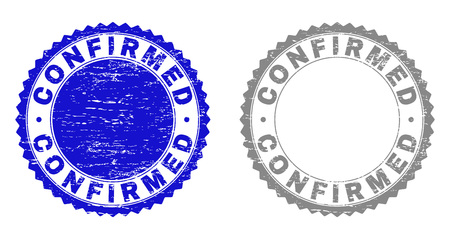 Grunge CONFIRMED stamp seals isolated on a white background. Rosette seals with grunge texture in blue and gray colors. Vector rubber stamp imitation of CONFIRMED label inside round rosette. Illustration