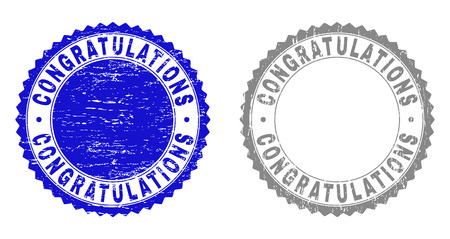 Grunge CONGRATULATIONS stamp seals isolated on a white background. Rosette seals with grunge texture in blue and gray colors. Vector rubber stamp imprint of CONGRATULATIONS tag inside round rosette.