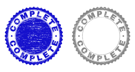 Grunge COMPLETE stamp seals isolated on a white background. Rosette seals with grunge texture in blue and gray colors. Vector rubber stamp imitation of COMPLETE title inside round rosette. Vecteurs