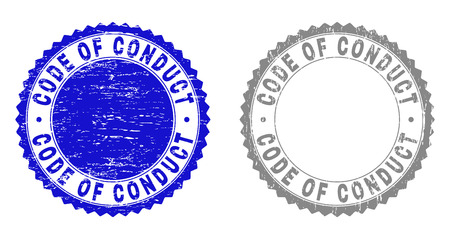 Grunge CODE OF CONDUCT stamp seals isolated on a white background. Rosette seals with distress texture in blue and grey colors.