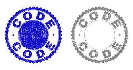 Grunge CODE stamp seals isolated on a white background. Rosette seals with grunge texture in blue and grey colors. Vector rubber stamp imitation of CODE tag inside round rosette.