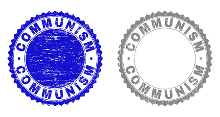 Grunge COMMUNISM stamp seals isolated on a white background. Rosette seals with distress texture in blue and grey colors. Vector rubber stamp imitation of COMMUNISM title inside round rosette.