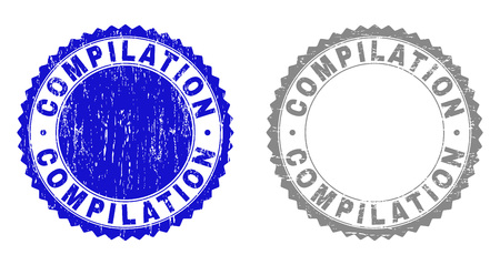Grunge COMPILATION stamp seals isolated on a white background. Rosette seals with grunge texture in blue and grey colors. Vector rubber stamp imprint of COMPILATION caption inside round rosette.