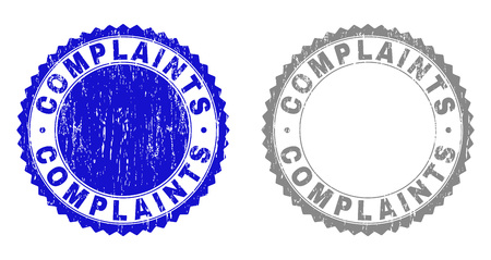 Grunge COMPLAINTS stamp seals isolated on a white background. Rosette seals with distress texture in blue and grey colors. Vector rubber overlay of COMPLAINTS label inside round rosette. Illustration