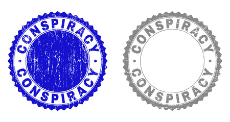 Grunge CONSPIRACY stamp seals isolated on a white background. Rosette seals with distress texture in blue and gray colors. Vector rubber stamp imprint of CONSPIRACY label inside round rosette.