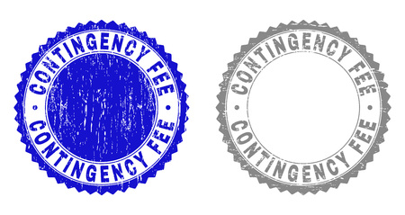 Grunge CONTINGENCY FEE stamp seals isolated on a white background. Rosette seals with grunge texture in blue and grey colors. Vector rubber stamp imprint of CONTINGENCY FEE text inside round rosette.