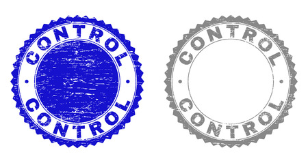 Grunge CONTROL stamp seals isolated on a white background. Rosette seals with grunge texture in blue and grey colors. Vector rubber stamp imprint of CONTROL text inside round rosette.