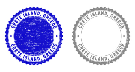 Grunge CRETE ISLAND, GREECE stamp seals isolated on a white background. Rosette seals with grunge texture in blue and grey colors. Vector rubber stamp imprint of CRETE ISLAND,