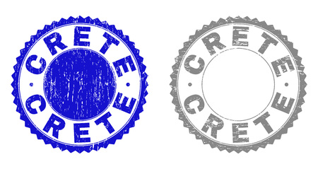 Grunge CRETE stamp seals isolated on a white background. Rosette seals with grunge texture in blue and gray colors. Vector rubber stamp imprint of CRETE text inside round rosette.