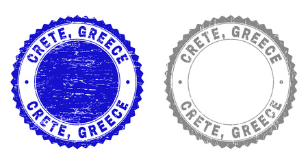 Grunge CRETE, GREECE stamp seals isolated on a white background. Rosette seals with grunge texture in blue and gray colors. Vector rubber stamp imitation of CRETE, GREECE tag inside round rosette.  イラスト・ベクター素材