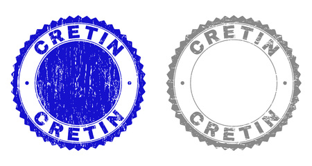Grunge CRETIN stamp seals isolated on a white background. Rosette seals with distress texture in blue and gray colors. Vector rubber stamp imitation of CRETIN tag inside round rosette.