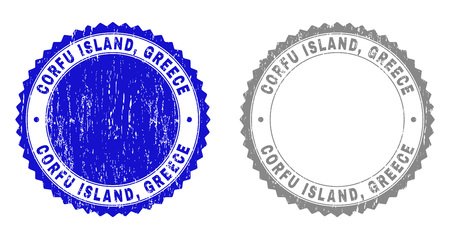 Grunge CORFU ISLAND, GREECE stamp seals isolated on a white background. Rosette seals with grunge texture in blue and grey colors. Vector rubber stamp imprint of CORFU ISLAND,