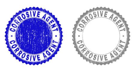 Grunge CORROSIVE AGENT stamp seals isolated on a white background. Rosette seals with distress texture in blue and gray colors. Vector rubber overlay of CORROSIVE AGENT caption inside round rosette.