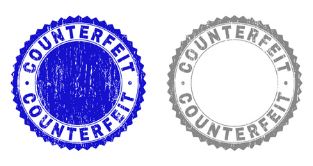 Grunge COUNTERFEIT stamp seals isolated on a white background. Rosette seals with grunge texture in blue and gray colors. Vector rubber stamp imprint of COUNTERFEIT text inside round rosette. Иллюстрация