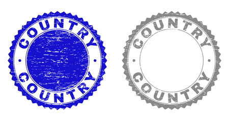 Grunge COUNTRY stamp seals isolated on a white background. Rosette seals with grunge texture in blue and grey colors. Vector rubber stamp imitation of COUNTRY title inside round rosette. Illustration