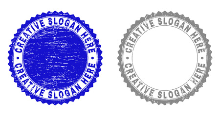 Grunge CREATIVE SLOGAN HERE stamp seals isolated on a white background. Rosette seals with grunge texture in blue and gray colors.