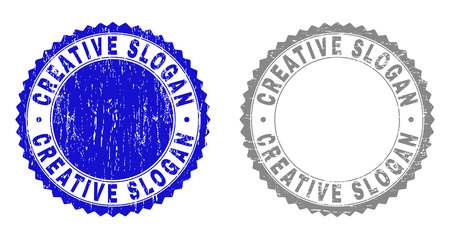 Grunge CREATIVE SLOGAN stamp seals isolated on a white background. Rosette seals with grunge texture in blue and gray colors. Vector rubber overlay of CREATIVE SLOGAN label inside round rosette. Çizim
