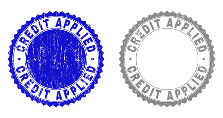 Grunge CREDIT APPLIED stamp seals isolated on a white background. Rosette seals with grunge texture in blue and gray colors. Vector rubber stamp imitation of CREDIT APPLIED tag inside round rosette.