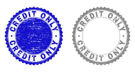 Grunge CREDIT ONLY stamp seals isolated on a white background. Rosette seals with grunge texture in blue and grey colors. Vector rubber stamp imitation of CREDIT ONLY text inside round rosette.