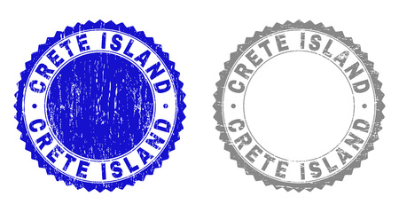 Grunge CRETE ISLAND stamp seals isolated on a white background. Rosette seals with grunge texture in blue and grey colors. Vector rubber overlay of CRETE ISLAND caption inside round rosette. 向量圖像