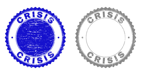 Grunge CRISIS stamp seals isolated on a white background. Rosette seals with grunge texture in blue and grey colors. Vector rubber stamp imitation of CRISIS title inside round rosette.