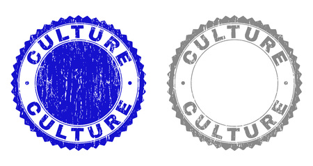Grunge CULTURE stamp seals isolated on a white background. Rosette seals with grunge texture in blue and grey colors. Vector rubber stamp imitation of CULTURE label inside round rosette.