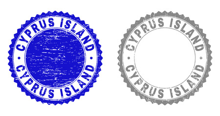 Grunge CYPRUS ISLAND stamp seals isolated on a white background. Rosette seals with grunge texture in blue and gray colors. Vector rubber stamp imprint of CYPRUS ISLAND caption inside round rosette.