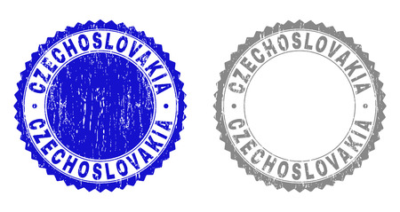 Grunge CZECHOSLOVAKIA stamp seals isolated on a white background. Rosette seals with grunge texture in blue and gray colors. Vector rubber stamp imitation of CZECHOSLOVAKIA label inside round rosette.