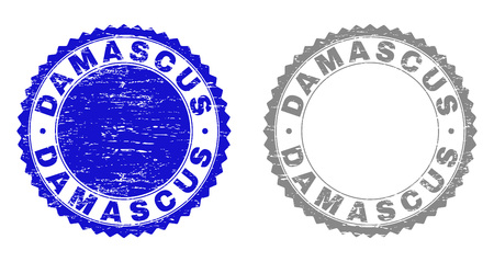 Grunge DAMASCUS stamp seals isolated on a white background. Rosette seals with grunge texture in blue and grey colors. Vector rubber stamp imitation of DAMASCUS caption inside round rosette.